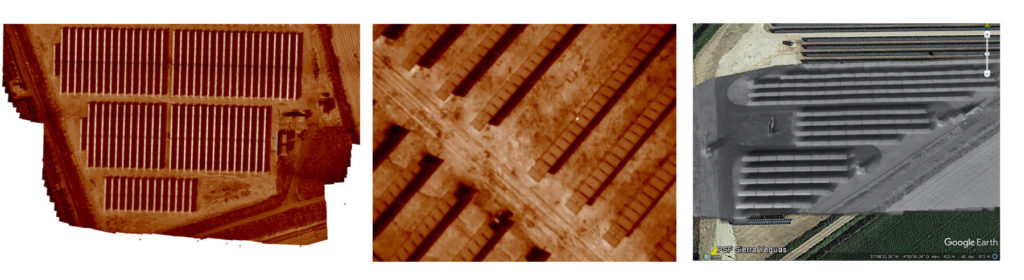 Aerial pictures and thermographies for solar plants performance