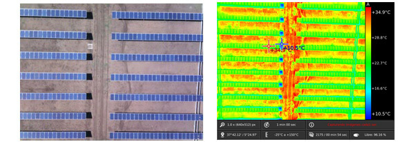 Solar plant of Camargo thermographic picture from ISE's dron